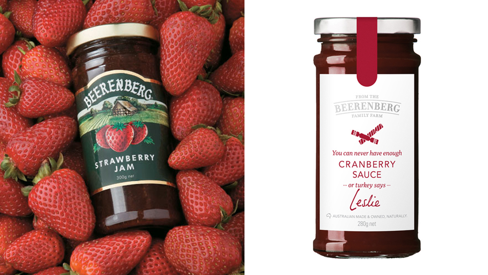 Old and new Beerenberg packaging